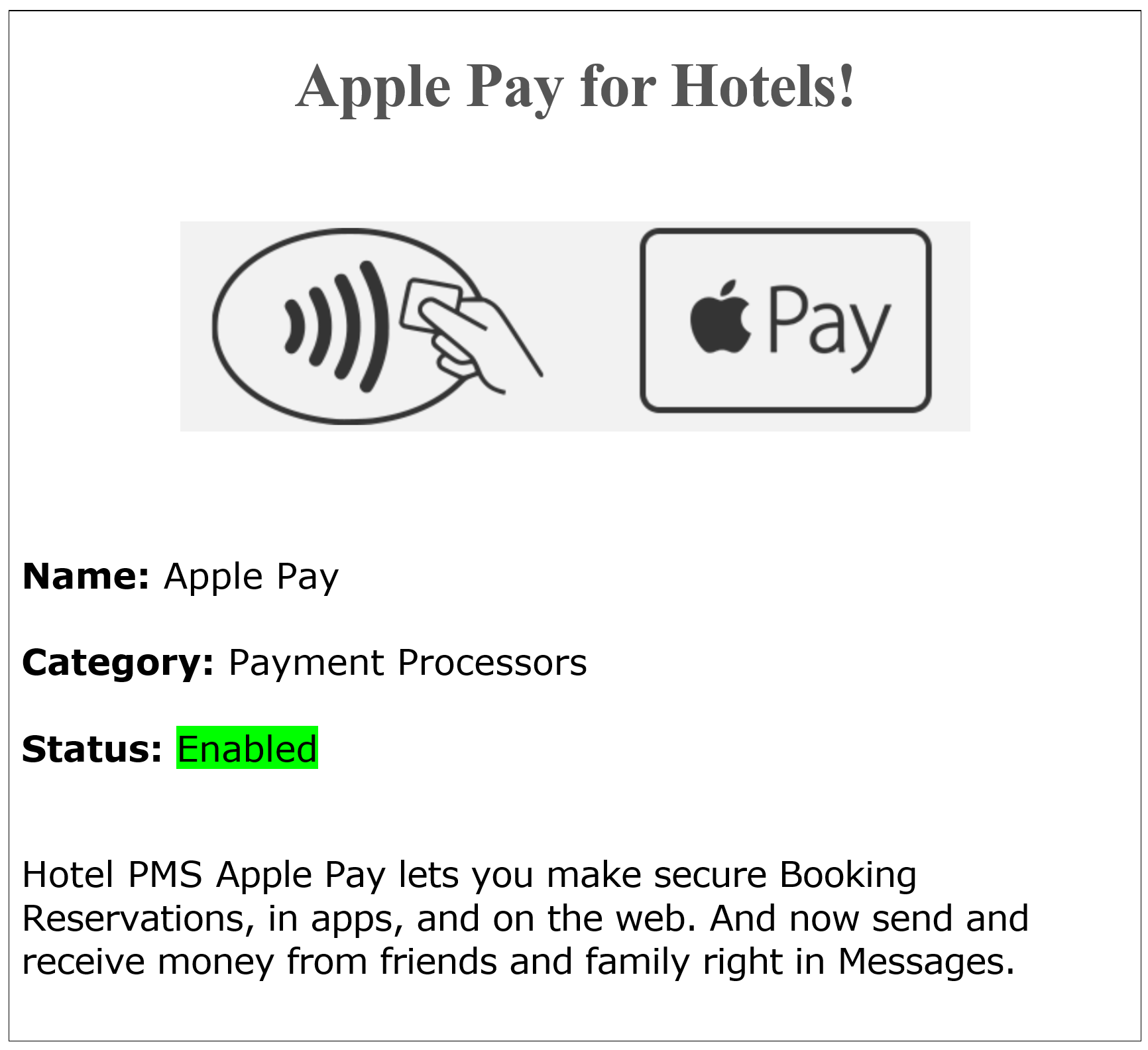 Apple Pay  Apple Watch   Apple Pay Hotel Credit Card Processing - Accept Hotel booking Reservations with Apple Pay, connect a Hotel With Apple Pay