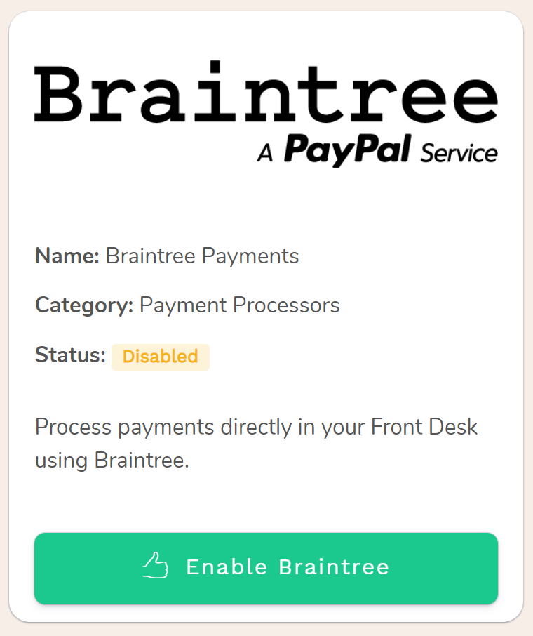 Braintree Credit Cards Payments for hotels and b&b
