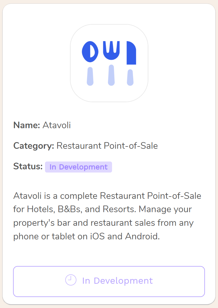 Atavoli A Point of Sale & Restaurant Back Office for Restaurants, Bars, Cafes, Bistros, Diners, Bakeries, Food Trucks, Hotels, Bed and Breakfasts, Resorts, Night Clubs